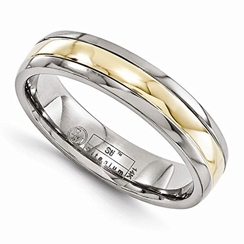 Edward Mirell Polished Titanium with 14K Yellow Gold Inlay 5mm Wedding Band - Size 9.5 by Edward Mirell