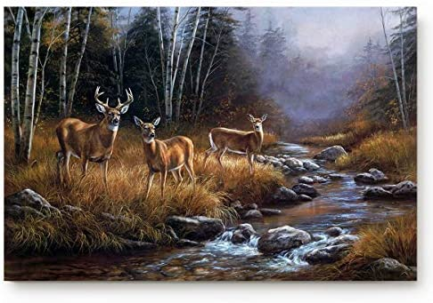 Custom Door Mat Wildlife Deer Safair in Stream River at Forest in Autumn Indoor Non-Slip Rubber Entrance Rugs for Bathroom 30 L x 18 W Inch