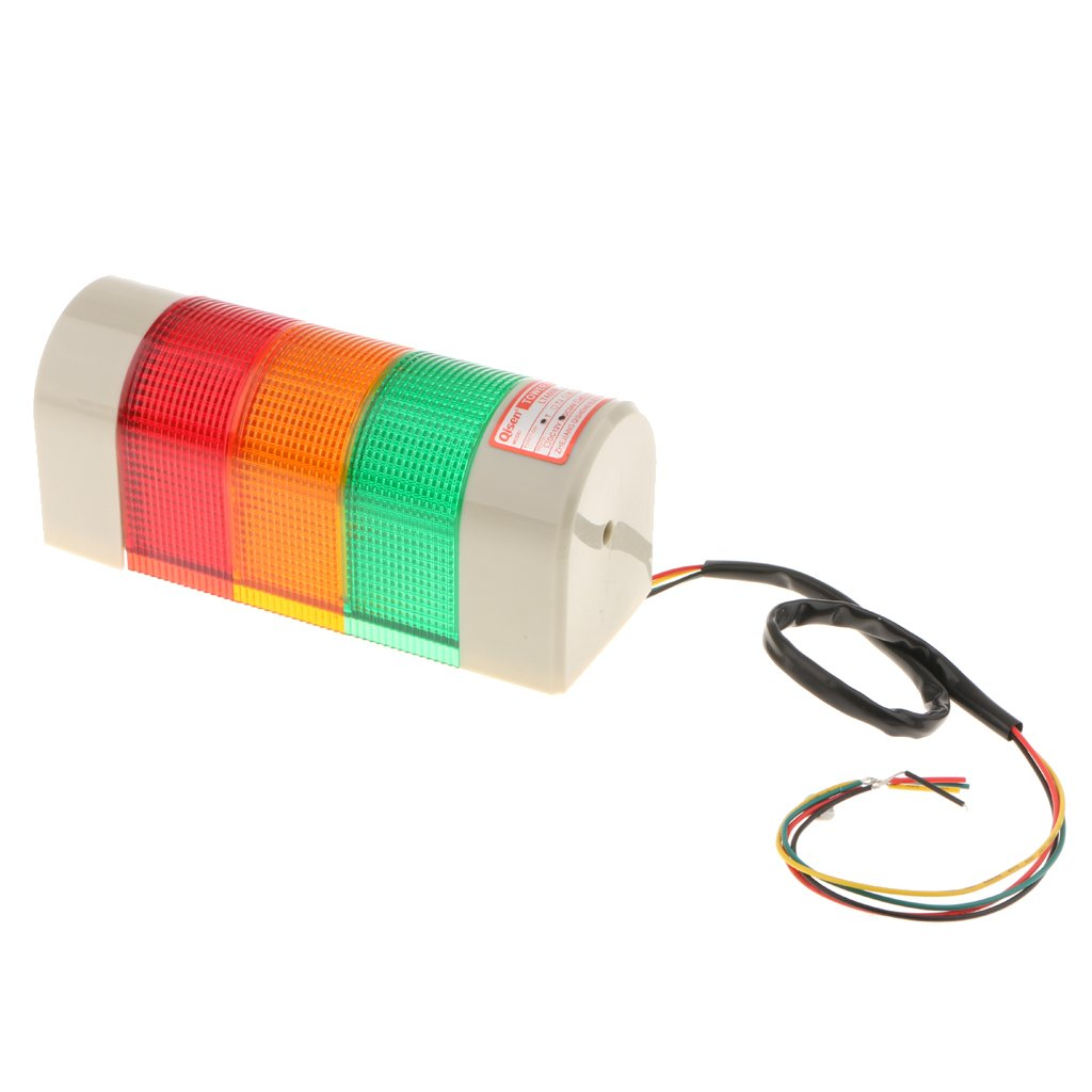 Homyl DC 24V Industrial Tower Signal Alarm Lamp Three-Color(Red+Yellow+Green) LED Strobe Flashing Light for School, Bank