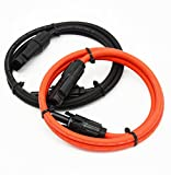 1 Pair Black + Red 10AWG(6mm²) MC4 Solar Adaptor Cable Solar Panel Extension Cable Wire MC4 Connector Solar Extension Cable with MC4 Female and Male Connectors (3FT-2)
