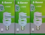 Pack of 3, E-Saver CFL Full Spiral, 20w = 100watt, Daylight 6400k, Compact Fluorescent Lamp, Bayonet Cap (BC, B22, B22d) 1150 Lumen, T2, Ideal for suffers of S.A.D, 80%-85% Energy Saving Light Bulb, Flicker Free, 10,000 Hours Life Time…