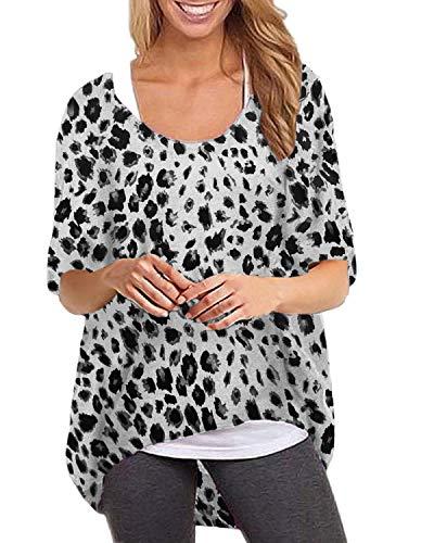 ZANZEA Women's Batwing Long Sleeve Leopard Print Loose Oversized Baggy Tops Sweater Pullover Casual Blouse T-Shirt Leopard-Grey - White Leopard