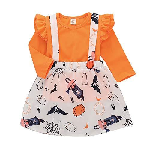 Zukuco Baby Girls Halloween Clothes Ruffle Sleeve Top Pumpkin Dress Bat Ghost Witch Suspender Skirt(2-3Y, Orange)
