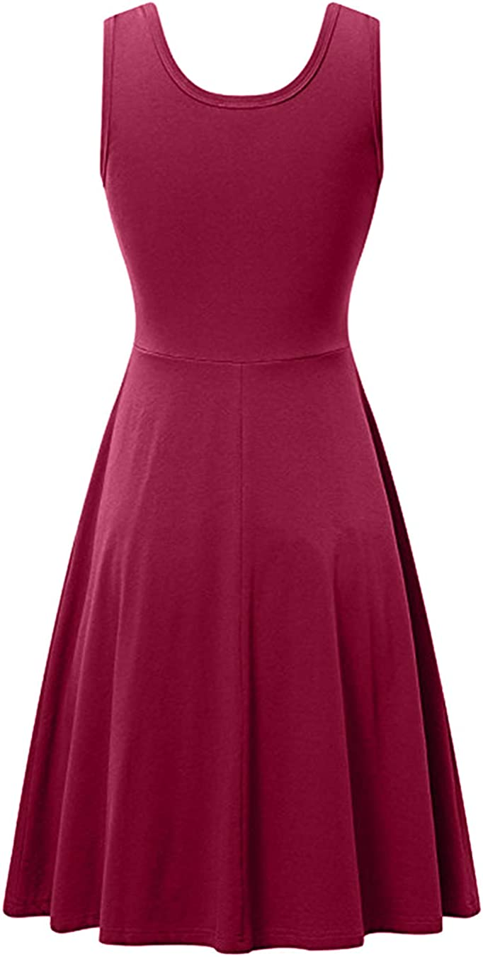 EFOFEI Damen ärmelloses Swing A Line lässiges einfarbiges Midisommer-Trägerkleid V-burgundy