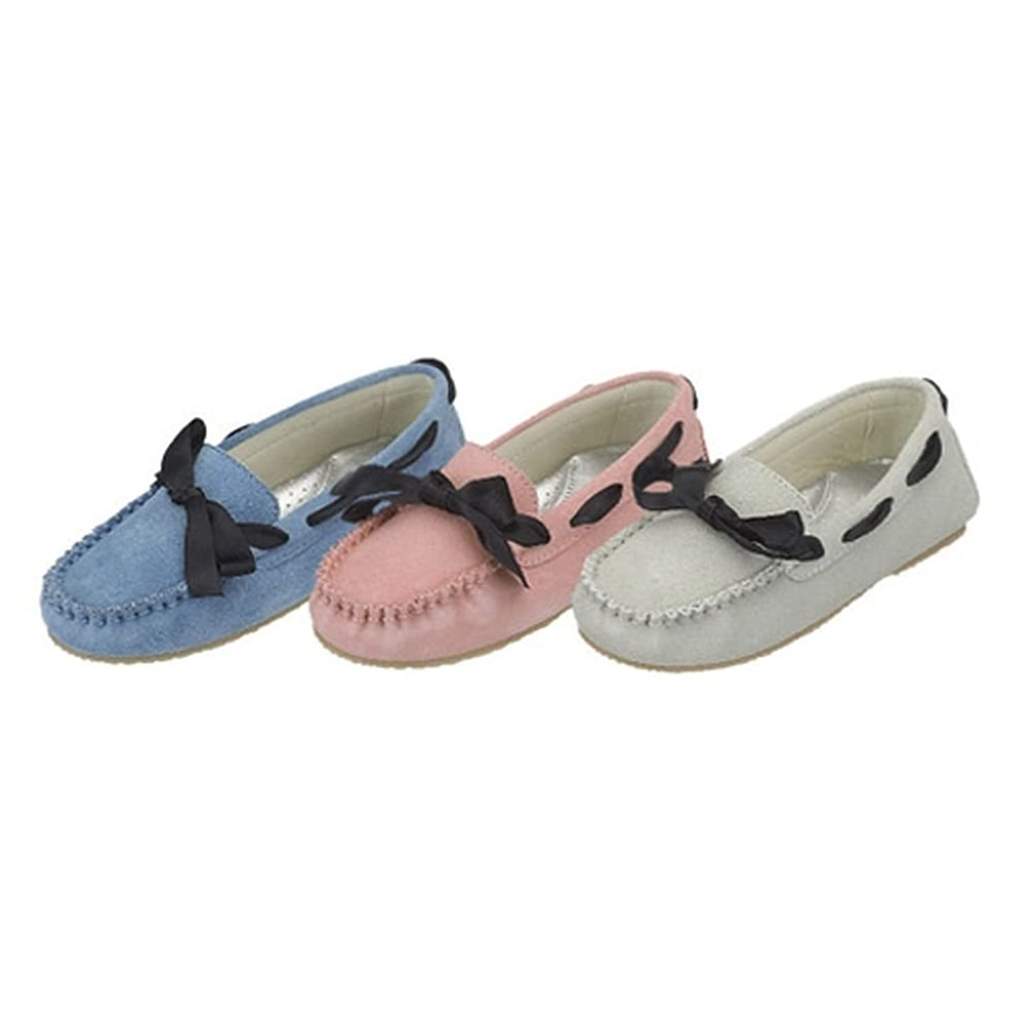 Toddler Girls Blue Ribbon Tie Moccasin Casual Shoes 7T-4