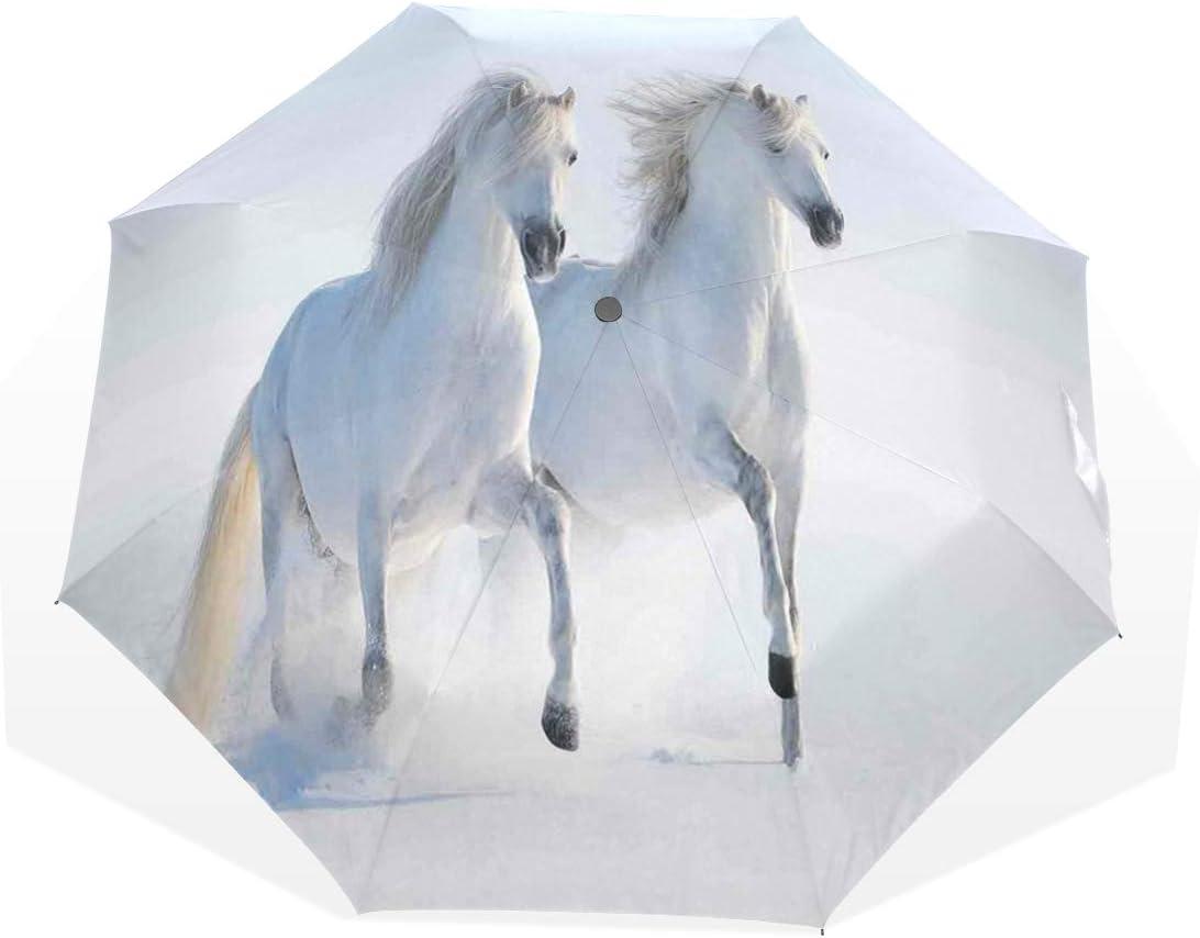 LASINSU Paraguas Resistente a la Intemperie,protección UV,Caballos manchados raros al Galope en el Campo de Nieve Genes dominantes Albino