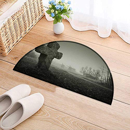 Simple Modern Semi-Circular Non-Slip Carpet Scary Background for