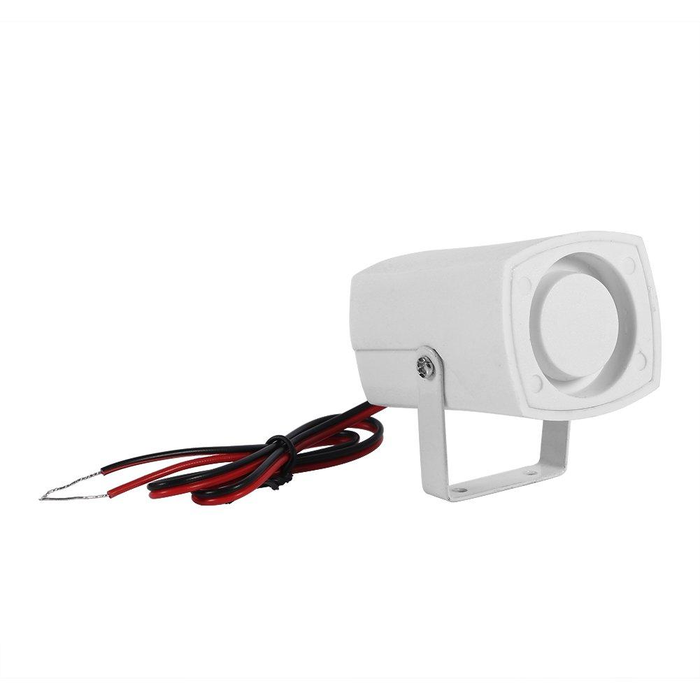 Fdit Alarme Filaire électronique sirène sans Fil Détecteur Mini Forte Corne pour Système d'Alarme de Sécurité pour Maison avec Support 110dB DC 12V