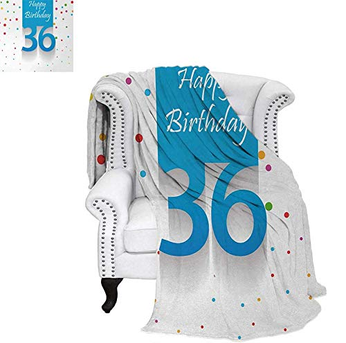 (Custom Design Cozy Flannel Blanket Happy Birthday Quote on Blue Backdrop with Colorful Traditional Polka Dots Weave Pattern Blanket 62