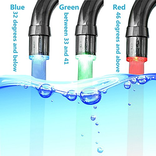 Alovexiong Temperature Control 3-Color Gradient Changing Tap LED Water Faucet Light Water Stream Color Changing Sink Faucet Parts For Bathroom (Bathroom Sink Colors)