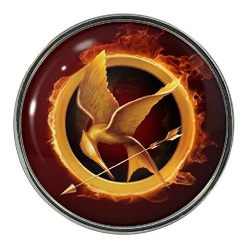 Flaming Mockingbird Design Metal Pin Badge (Katniss Mockingjay Pin)