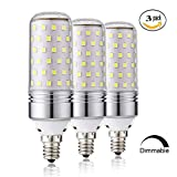 15W Dimmable LED Corn Bulbs,E12 LED Candelabra Light Bulbs 100 Watt Equivalent, 1000lm, Daylight White 6000K LED Chandelier Bulbs, Decorative Candle Base E12 Dimmable LED Lamp, Pack of 3