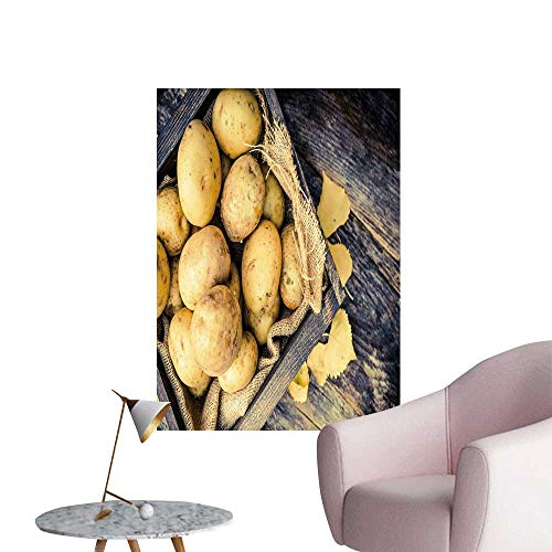 (SeptSonne Wall Stickers for Living Room raw organicgen Potatoes in The Wooden Crate on Age woo plaks Table Vinyl Wall Stickers Print,24
