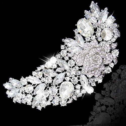 Ever Faith - Broche Autrichien Cristal Braut Rose Fleur Bouquet Clair 5 Inch A02673-4