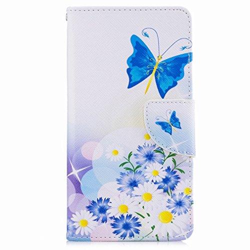 Yiizy Huawei Nova Funda, Blue Butterfly Diseño Solapa Flip Billetera Carcasa Tapa Estuches Premium PU Cuero Cover Cáscara Bumper Protector Slim Piel Shell Case Stand Ranura para Tarjetas Estilo
