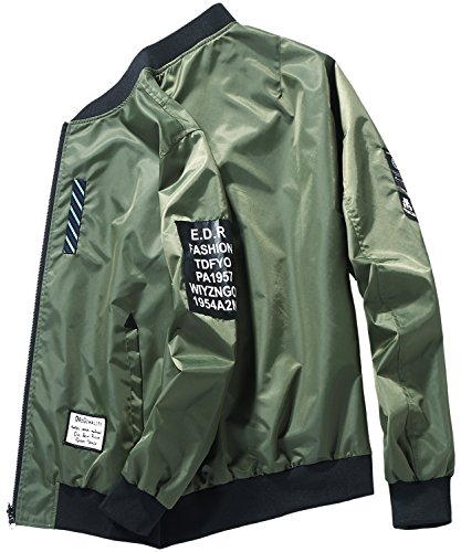 HENGAO Men's Casual Reversible Patches Varsity Bomber Jacket Coat Outwear, Military Green, L/42R = Tag (Patch Bomber)
