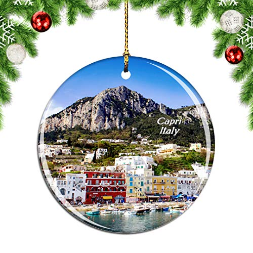 Weekino Italy Capri Christmas Xmas Tree Ornament Decoration Hanging Pendant Decor City Travel Souvenir Collection Double Sided Porcelain 2.85 Inch