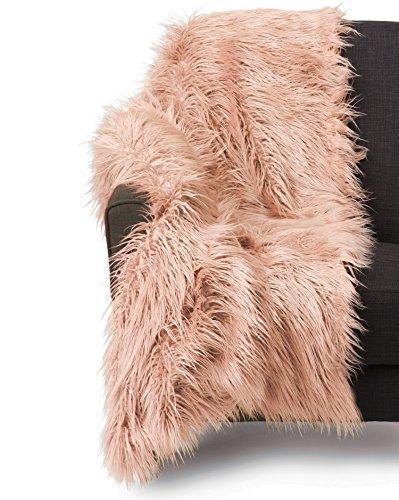 - Cynthia Rowley Lush Plush Mongolian Lamb Wool Faux Fur Throw Blanket Fuzzy Fake Fur (Rose Blush)