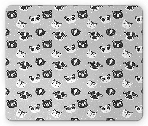 (Nursery Mouse Pad, Baby Farmland Animal Faces with Hand Drawn Hearts and Dots, Standard Size Rectangle Non-Slip Rubber Mousepad, Charcoal Grey Pale Grey and White 9.8 X 11.8 INCH)