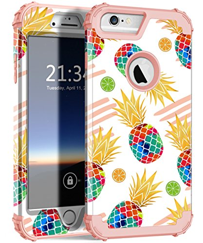 iPhone 6s Plus Case, iPhone 6 Plus Case, Hocase Heavy Duty Shockproof Protection Hard Plastic+Silicone Rubber Full Body Protective Case for iPhone 6 Plus/6s Plus - Watercolor Pineapple/Rose Gold