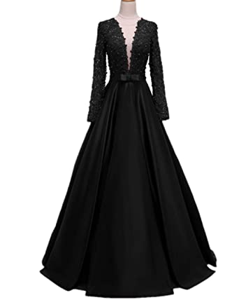 587bd013546 Promworld Women s Lace Beaded Evening Dress with Sleeves See Through Open  Back Long Prom Dress Black