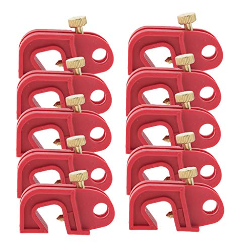 Baosity 10PCS Universal Circuit Breaker Lockout Red with Twisted Screw, Locks Out All Miniature ISO/DIN Circuit Breakers Throughout The - Breaker Screw