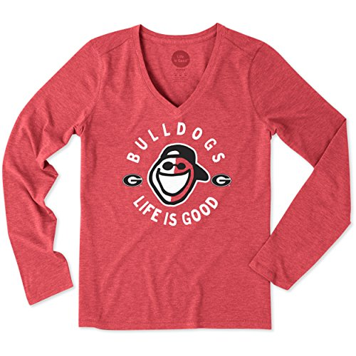NCAA Georgia Bulldogs Adult Women Women's Longsleeve Cool Vee Face Paint Jake, X-Large, Sport - Paint Georgia