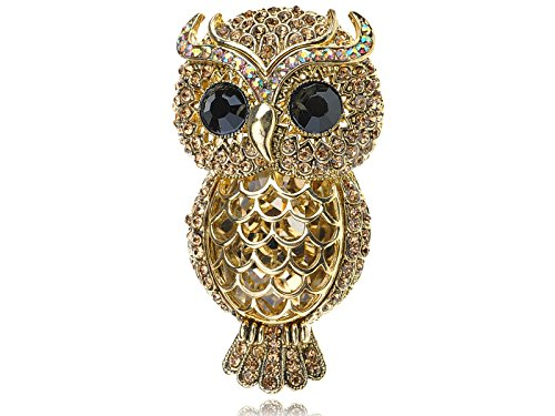 Alilang Gold Toned Topaz Crystal Rhinestone Owl Greek Roman Mythical Bird Novelty Pin Brooch
