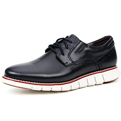 LAOKS Men's Brogues Oxford Wingtip Genuine Leather Dress Shoes for Business Casual Lace-up Classic Black