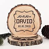 KISKISTONITE Wooden Wedding Cake Toppers Name Custom Photo Frame Design, Engraved Mr and Mrs Cake Rustic Country Decoration Favors Party Decorating Supplies