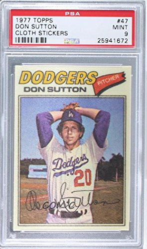 Don Sutton PSA GRADED 9 (Baseball Card) 1977 Topps Baseball Patches Cloth Stickers - [Base] #47 (Topps Cloth 1977)