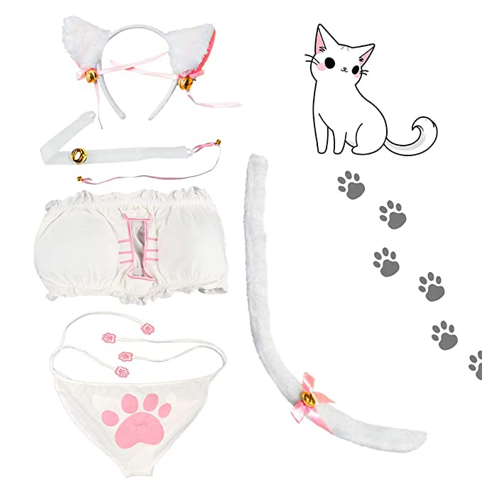 8ef45dccf Amazon.com: Beelittle Women's Cat Cosplay Lingerie Set Cute Anime Kitten  Costume Outfit (Small, White): Clothing