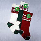 Kurt Adler Heavy Knit Stocking, 20X6- Inch, Set of 3, Red / Ivory / Green