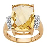 Platinum over .925 Silver Cushion Cut Genuine Citrine and White Topaz Ring