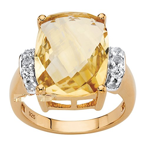 Platinum over .925 Silver Cushion Cut Genuine Citrine and White Topaz Ring Size 7 (Citrine Cut Cushion Ring Fashion)