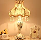 Best to Buy Tiffany Style Dimmable Table Lamp Victorian Jeweled Desk Lamp Floral Cloth Art+Resin (Yellow)