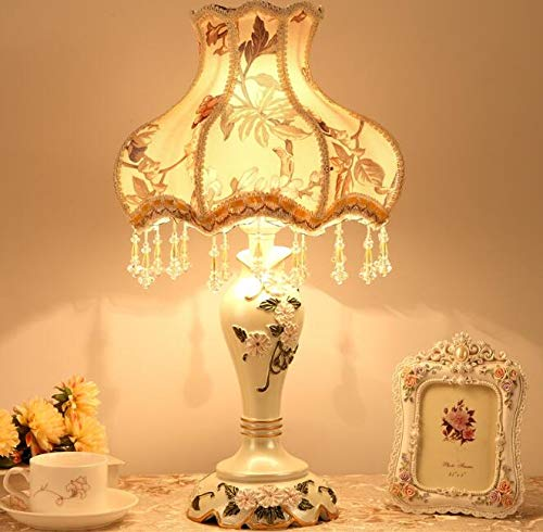 (Best To Buy Tiffany Style Dimmable Table Lamp Victorian Jeweled Desk Lamp Floral Cloth Art+Resin (Yellow))