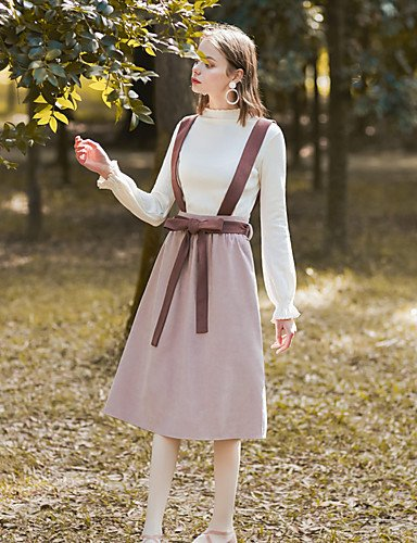 donna Blushing gonne color abito Pink Mayihang S da S Line gonna vintage a block qtw6F
