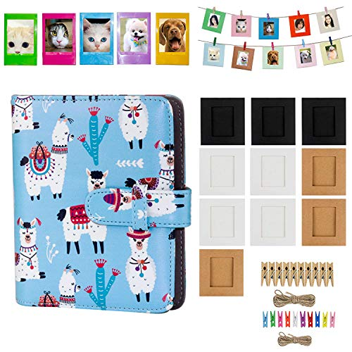 Blummy 2x3 Inch Photo Paper Film Album Set for Fujifilm Instax Mini Camera, Polaroid Snap, Z2300, SocialMatic Instant Cameras & Zip Instant Printer (Blue Alpaca, 72 Pockets)