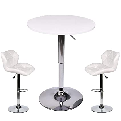 Astounding Pub Table Set 3 Piece 24 Inch Round Table With 2 Leatherette Chairs Height Adjustable White Barstools White Pub Table Onthecornerstone Fun Painted Chair Ideas Images Onthecornerstoneorg