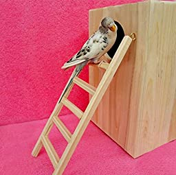 Zeroyoyo Pet Birds Accessory Wooden Ladder Fun Cage Toy for Parrot Budgie Rodent Hamster Mouse Gerbil