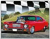"""Simply Calendar """"Road Warriors Muscle Car"""" 2018 Wall Calendar - 10.5"""" x 18"""" (Open)"""