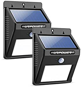 URPOWER Solar Lights 8 LED Wireless Waterproof Motion Sensor Outdoor Light for Patio, Deck, Yard, Garden with Motion Activated Auto On/Off (2-Pack)