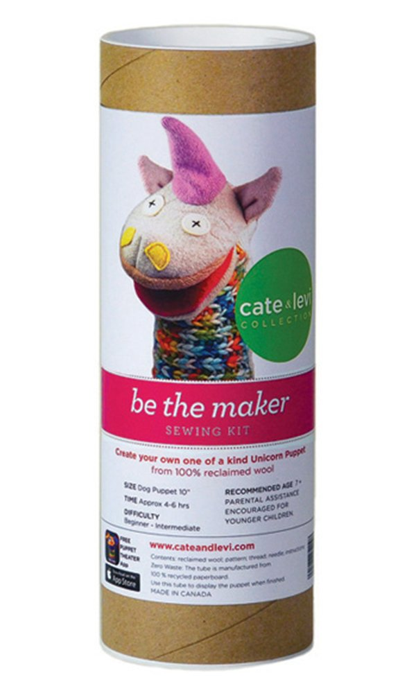 Cate and Levi 10'' Handmade Unicorn Puppet Making Kit (Premium Reclaimed Wool), Colors Will Vary