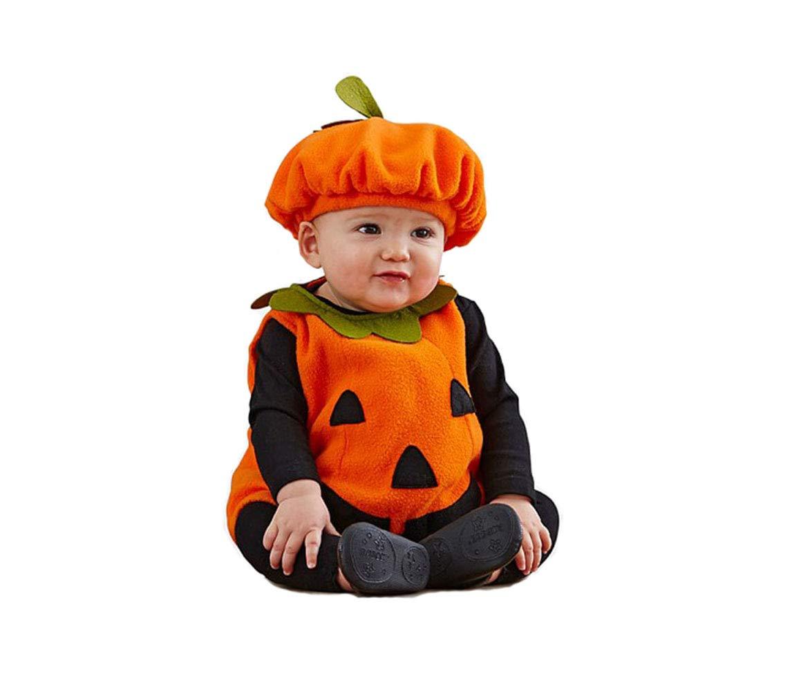 Kürbis Halloween Kostüm Kinder, Halloween Bekleidung Partywear Schlafanzug Unisex 3-teiliges Set