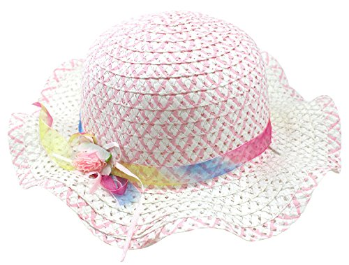 Price comparison product image Enimay Kid's Girl's Colored Tea Party Straw Hat with Flower and Bow Pink