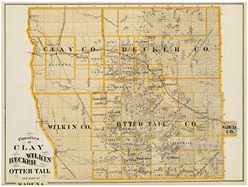 State Atlas | 1874 Counties of Clay, Wilkin, Becker, Otter Tail and part of Wadena. | Historic Antique Vintage Map Reprint