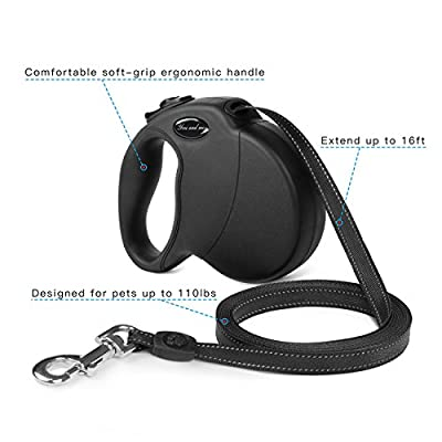 Youandme Retractable Dog Leash, 16 ft Dog Walking Leash for Medium Large Dogs up to 110lbs, Tangle Free, One Button Break & Lock, Reflective Ribbon Cord