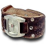 Watch with Genuine Leather Wristband