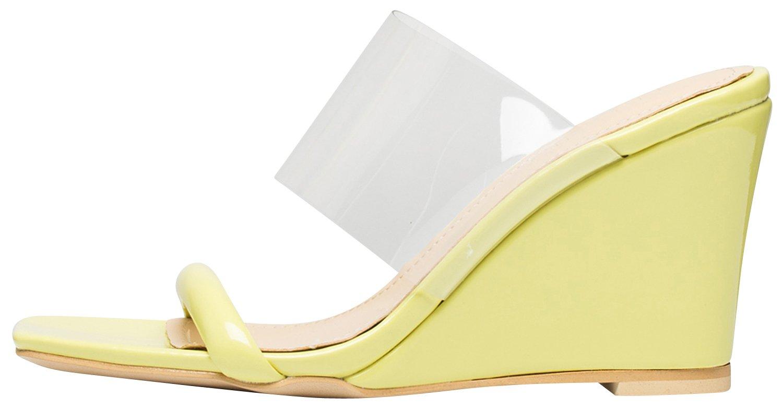 AnnaKastle Womens Transparent Clear Strap Wedge Heel Mule Sandals B07CJH1MJP 7 B(M) US|Yellow